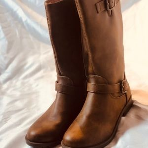 New Girl's Fall Brown Tall Riding Mid Calf Boots 5